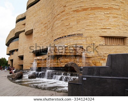 WASHINGTON, DC - July 1,  2015:  A view of the outside of the National Museum Of The American Indian in Washington, D.C. - stock photo