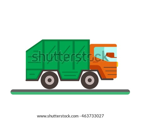 Waste disposal flat concept with garbage container truck.