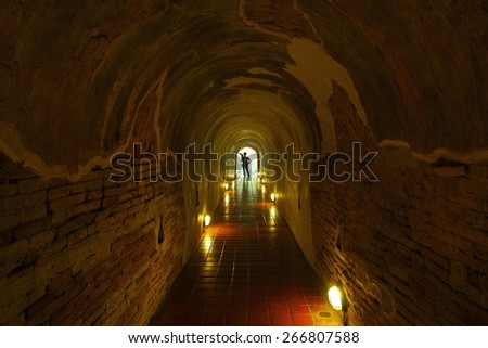 1 ?????? 2015, Wat U-Mong a tunnel under the pagoda 700 years, with the novelty that can not be seen from outside the temple. Tunnel connecting the tunnel, located in Chiang Mai. Of Thailand. - stock photo