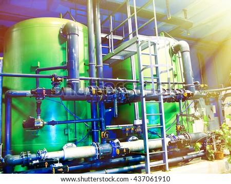 water treatment tanks on power plant                   - stock photo