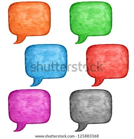 6 watercolor blank speech bubble dialog square shape on white background. Colored handmade technique aquarelle template. Empty copy-space for your text, signs or design - stock photo
