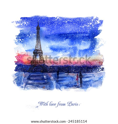 Watercolor landscape. With love from Paris. Greeting card. Two lovers on the background of the Eiffel tower.  Winter landscape of the city. Evening.  Valentine's day. - stock photo
