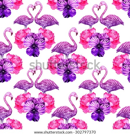Watercolor pink flamingos and flowers, roses, violets. Beautiful seamless floral pattern background - stock photo