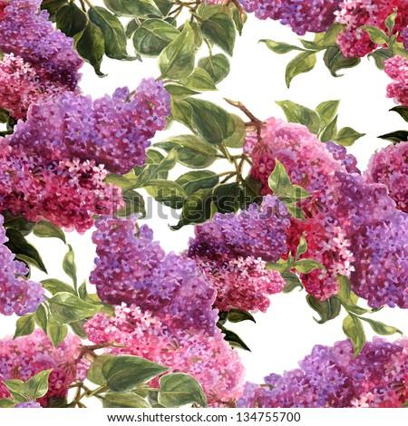 Watercolor Seamless Lilac Pattern - stock photo