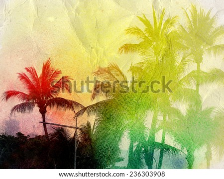 watercolor silhouettes beautiful sunset with palm trees in the tropics - stock photo