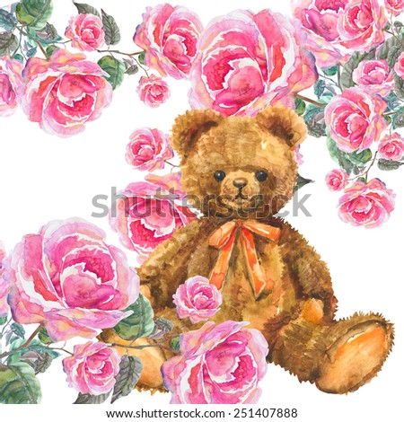 Watercolor Teddy Bear with Roses Garland. - stock photo