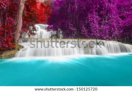 Waterfall Huay Mae Khamin three Level, Kanchanaburi Province, Thailand  - stock photo