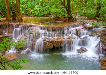 Waterfall in deep rain forest jungle. (Huay Mae Kamin Waterfall in Kanchanaburi Province, Thailand)