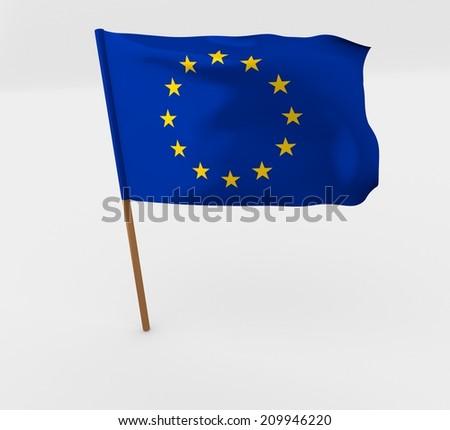 waving european union flag on the flag pole - stock photo