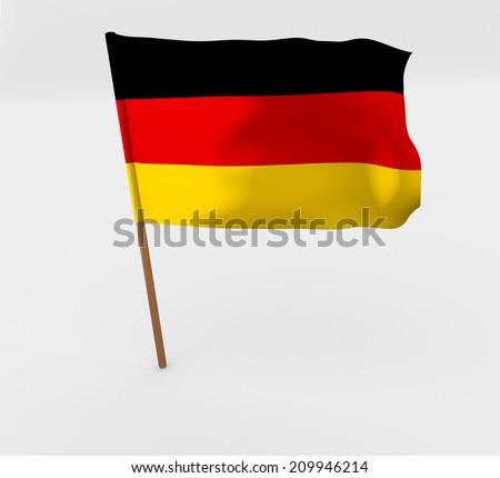 waving germany flag on the flag pole - stock photo