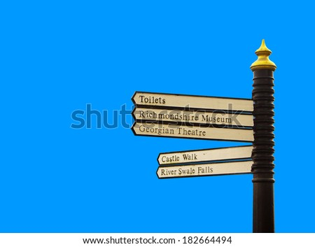5 way metal direction sign from Richmond - historic town in uk - stock photo