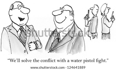 well solve conflict water pistol fightのイラスト素材 124641889