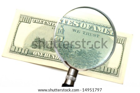 """WE TRUST"" magnified on dollar banknote"