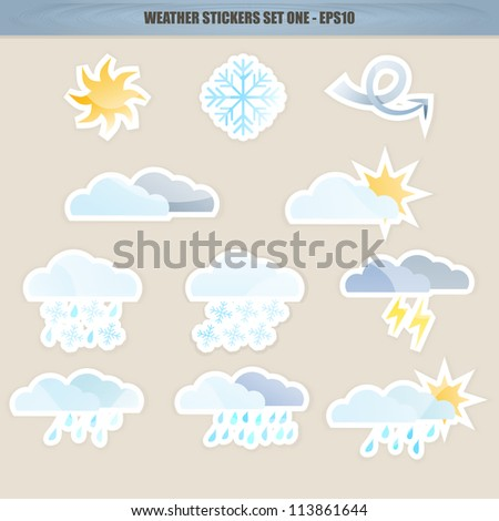 11 Weather Icon Stickers - Set One, Basic Set. Raster Version. - stock photo