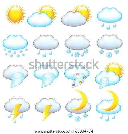 16 Weather Icons, Isolated On White Background