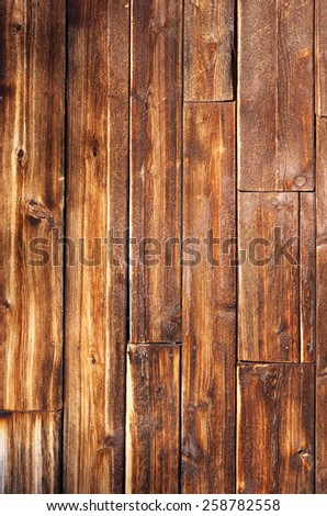 Weathered wood plank of an old cabin, great background and texture, vertical - stock photo