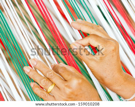 weave cotton cloth in Thailand  - stock photo