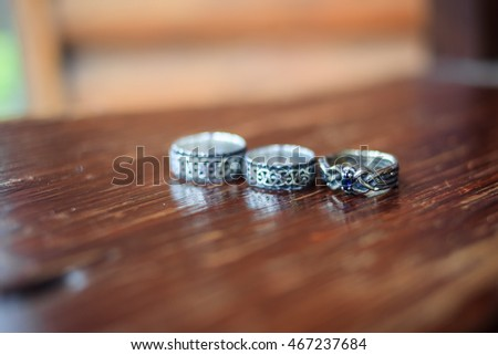 Wedding rings in the forest-style