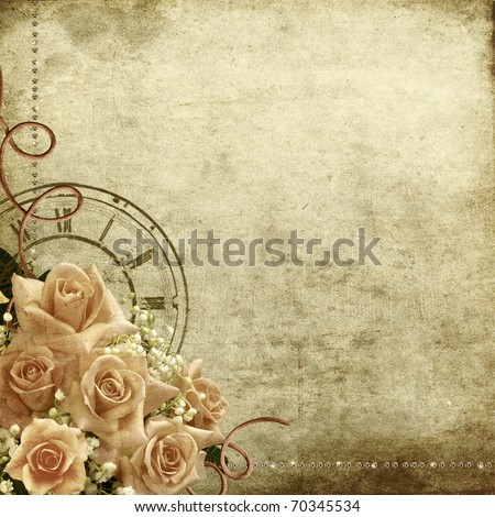Wedding vintage romantic background with roses and clock - stock photo