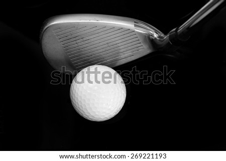 wedge, golf club, black tone color ,A brand new set of golf club irons, clubs drivers over green field background