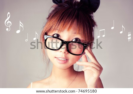 weird looking girl with a big glasses. - stock photo
