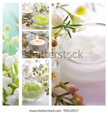 wellness collage with bath salt and moisturizer - stock photo