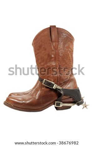 Western boots and spurs isolated on white - stock photo