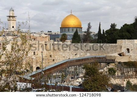 Western Wall an important jewish religious site.  Jerusalem, Israel