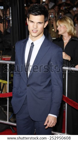 "16/11/2009 - Westwood - Taylor Lautner at the Los Angeles Premiere of ""The Twilight Saga: New Moon"" held at the Mann Village Theater in Hollywood, California, United States.  - stock photo"
