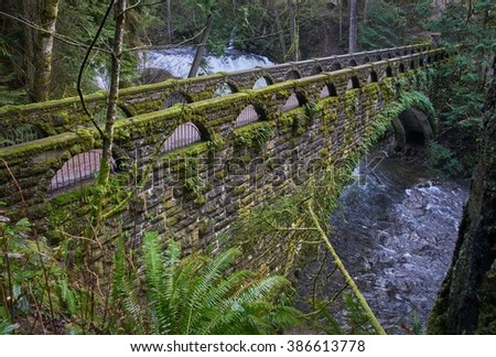 Whatcom Falls Bridge, USA. Whatcom falls and the historic bridge spanning Whatcom Creek in the morning light. Bellingham, Washington.  - stock photo