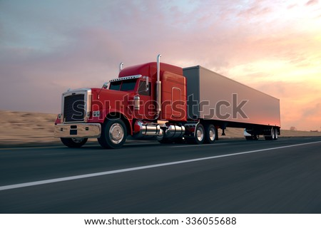18 Wheel Truck on the road during the day. Side view. - stock photo