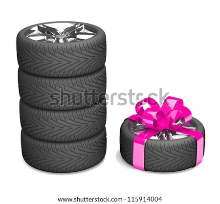 4 wheels and 5 as a gift. A tyre with a pink ribbon like a present isolated on white background - stock photo