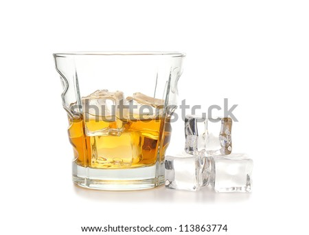 Whiskey and ice isolated on white background