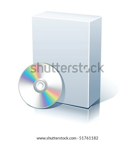 White blank box with CD,DVD disk - stock photo