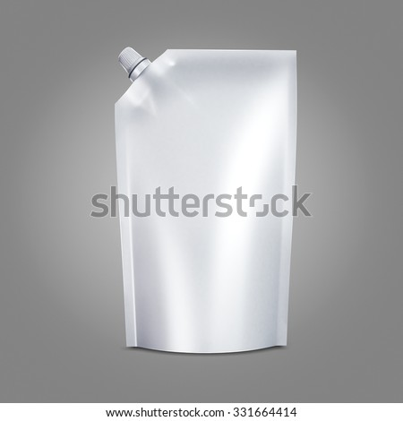 White Blank doypack food bag packaging with spout lid for ketchup, mayonnaise, condensed milk, cheese, sauce, liquid, cream, mousse, honey, chocolate, butter products. Isolated on gray background - stock photo