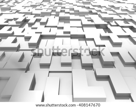 White Blocks Abstract Background. 3D rendering