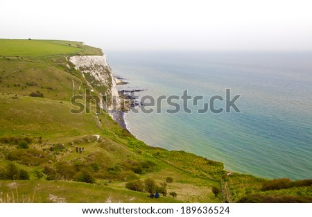 White cliffs south coast of Britain, Dover, famous place for archaeological discoveries and tourists destination  - stock photo