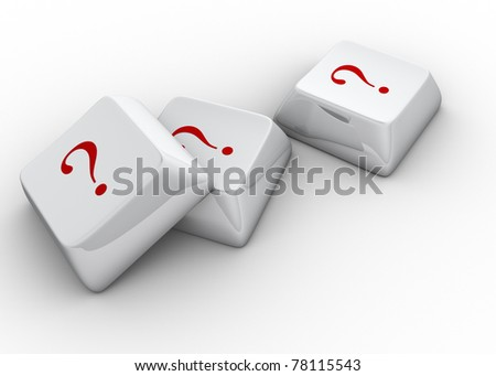 White computer keyboards with question mark - 3d render - stock photo