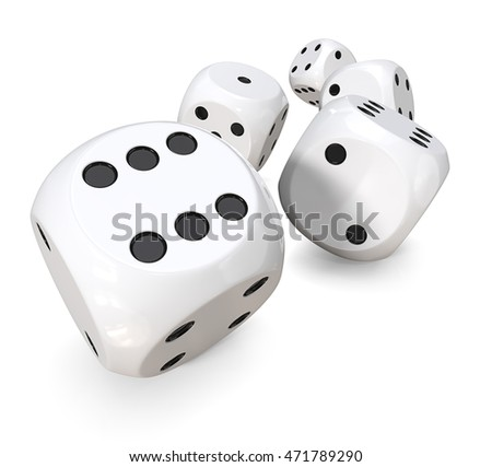 5 white dices. 3D Render of 5 classic white dices rolling forward.