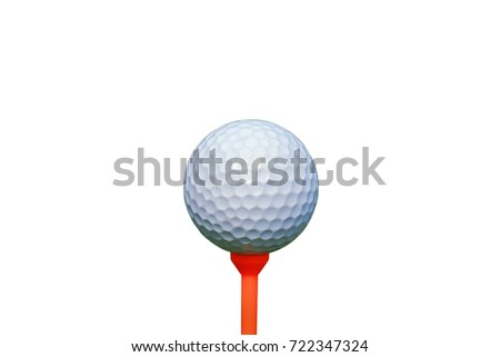 white golf ball on orange tee isolated on white background.