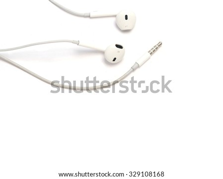 White headphone for audio on isolated white background