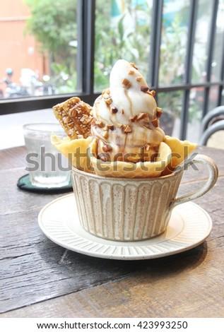 white ice cream in bowl, Homemade Organic Vanilla Ice Cream  - stock photo