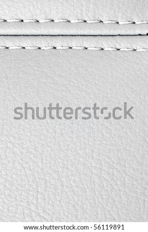 white leather sewing texture for background - stock photo