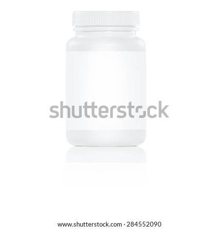 white plastic pill bottle with white label on white background