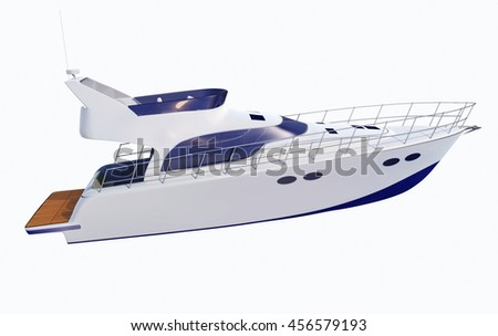 White Pleasure Motor Boat Isolated On White Background - 3D Rendering