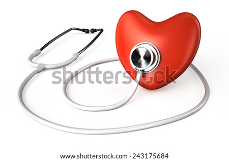 white stethoscope and red heart  isolated on white background
