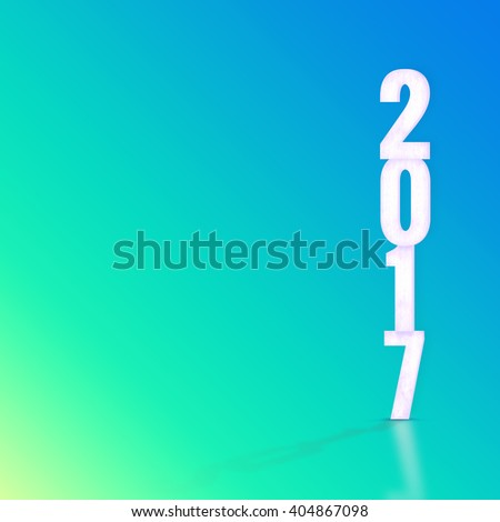 2017 white wood texture with material design color backdrop,Happy New Year holiday concept,Leave space for display your product - stock photo