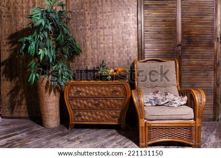 wicker furniture  wicker furniture interior room - stock photo