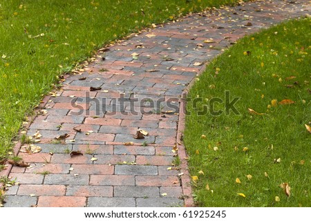 (wild)-garden path with natural stone - stock photo