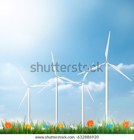 Wind Turbine Clean Nature Ecology Environment Concept